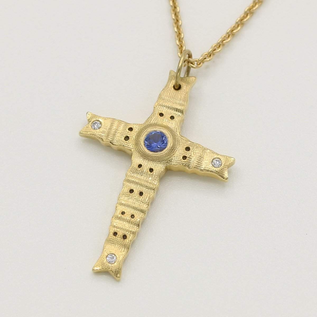 18K Spring Cross Sapphire & Diamond Pendant Necklace - M-10315-Alex Sepkus-Renee Taylor Gallery