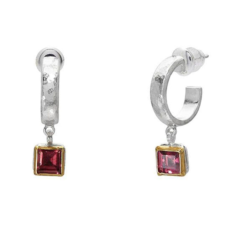 Square Rhodolite Skittle Hoop Earrings - SE-390-RD5-SQ-GURHAN-Renee Taylor Gallery