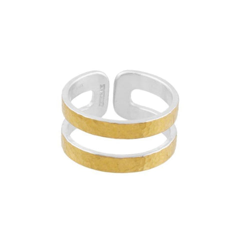 Sterling Silver & Layered 24k Gold Mango Double Ring - SR-RTMN-DB-G-GURHAN-Renee Taylor Gallery