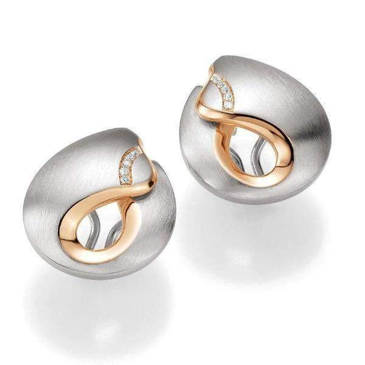 Rose Gold Plated Sterling Silver White Sapphire Earrings - 02/03664
