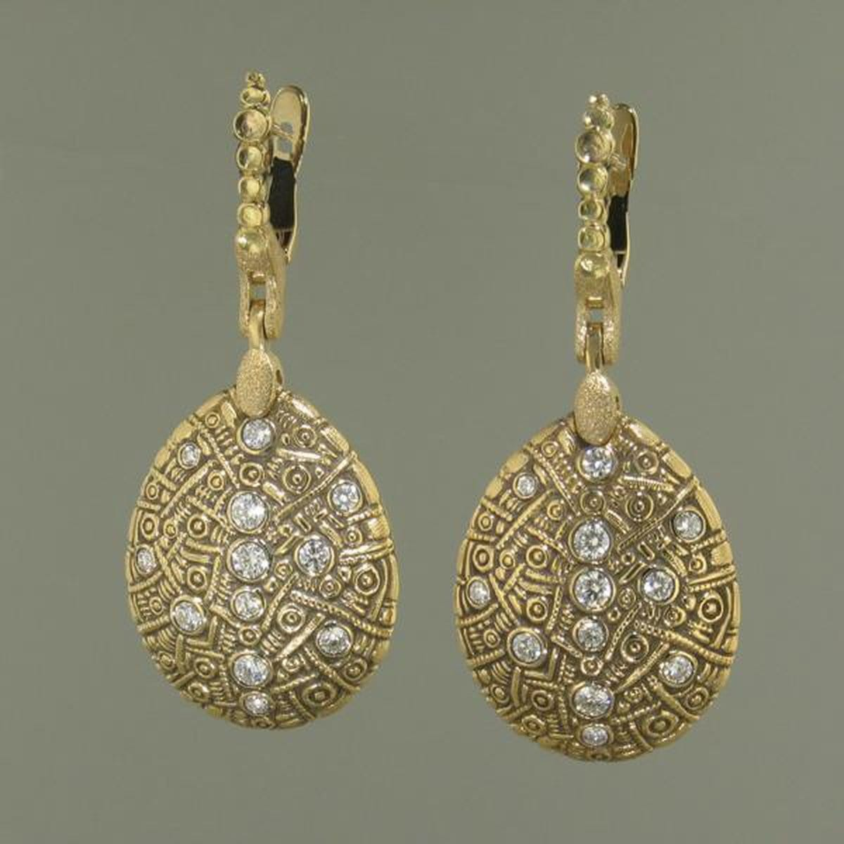 18K Tear Drop Diamond Earrings - E-186D-Alex Sepkus-Renee Taylor Gallery