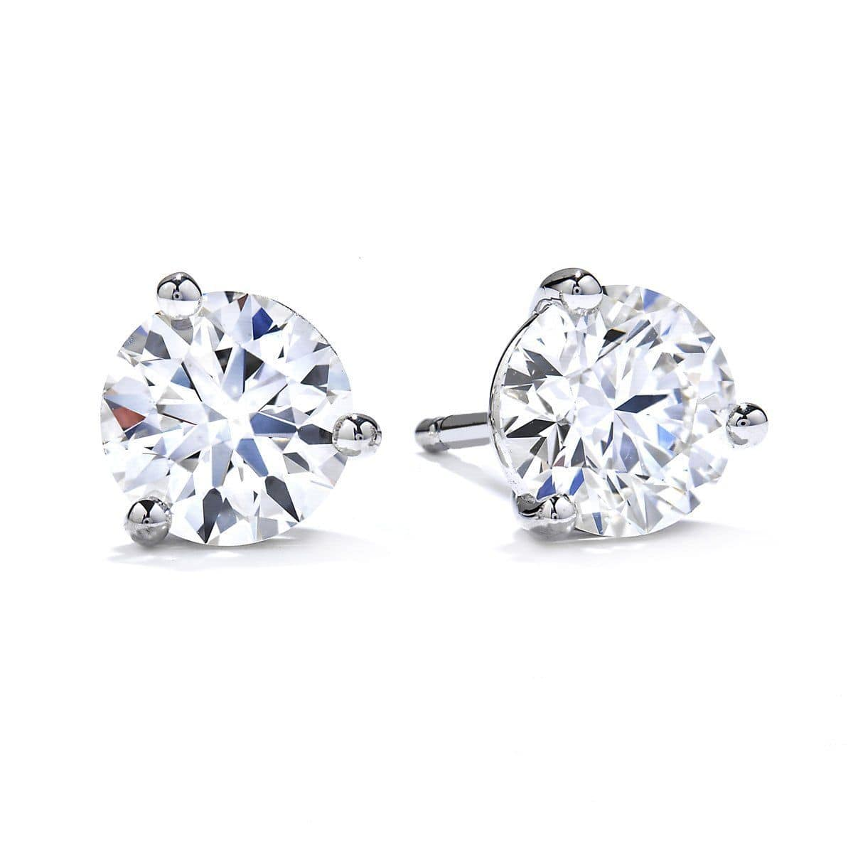 Three-Prong Diamond Stud Earrings - 3SIE01508