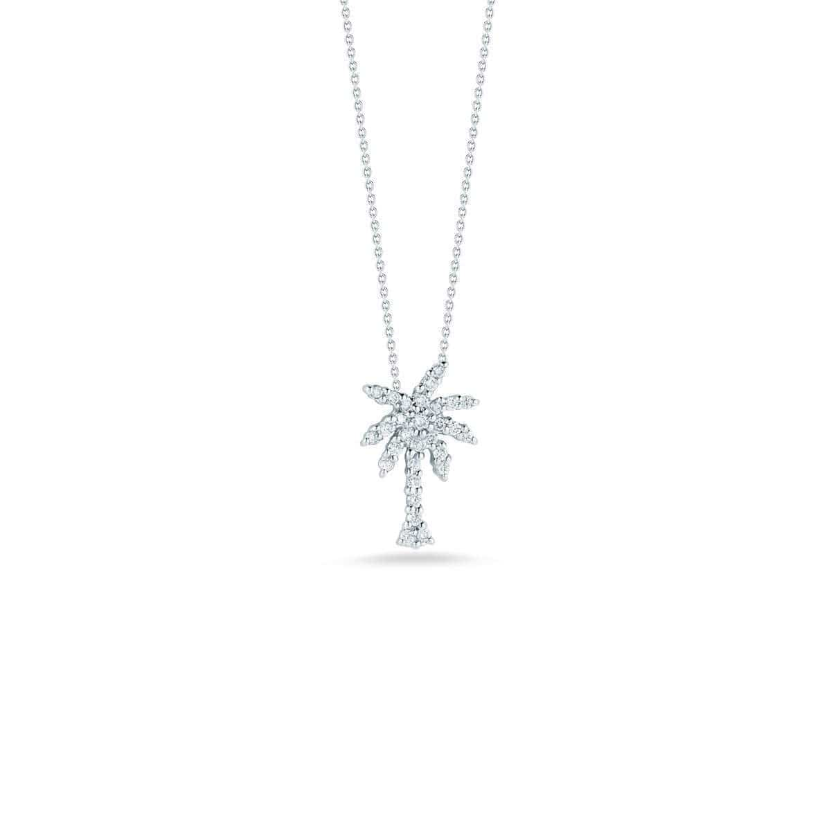 18k White Gold & Diamond Palm Tree Necklace - 001236AWCHX0