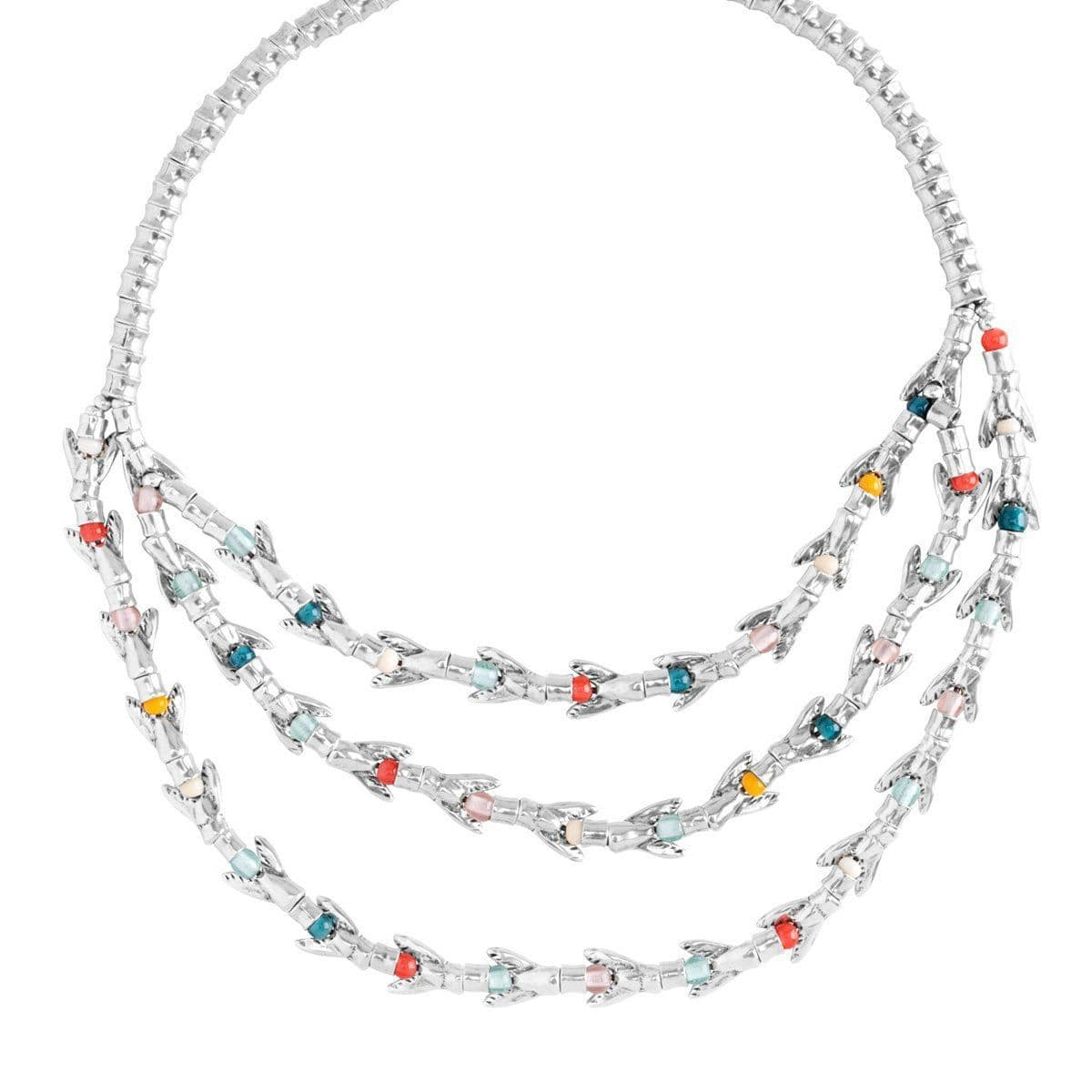 Tricola Silver Layered Necklace - COL1131MCLMTL0U