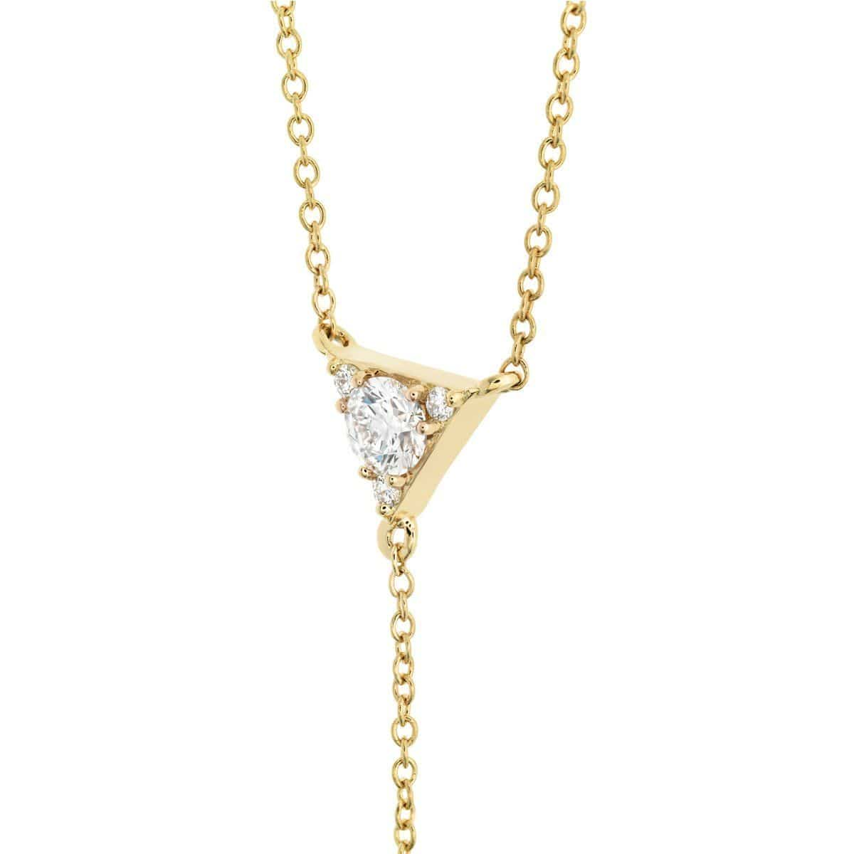 Triplicity Triangle Lariat Diamond Necklace - HFNTRIL00428