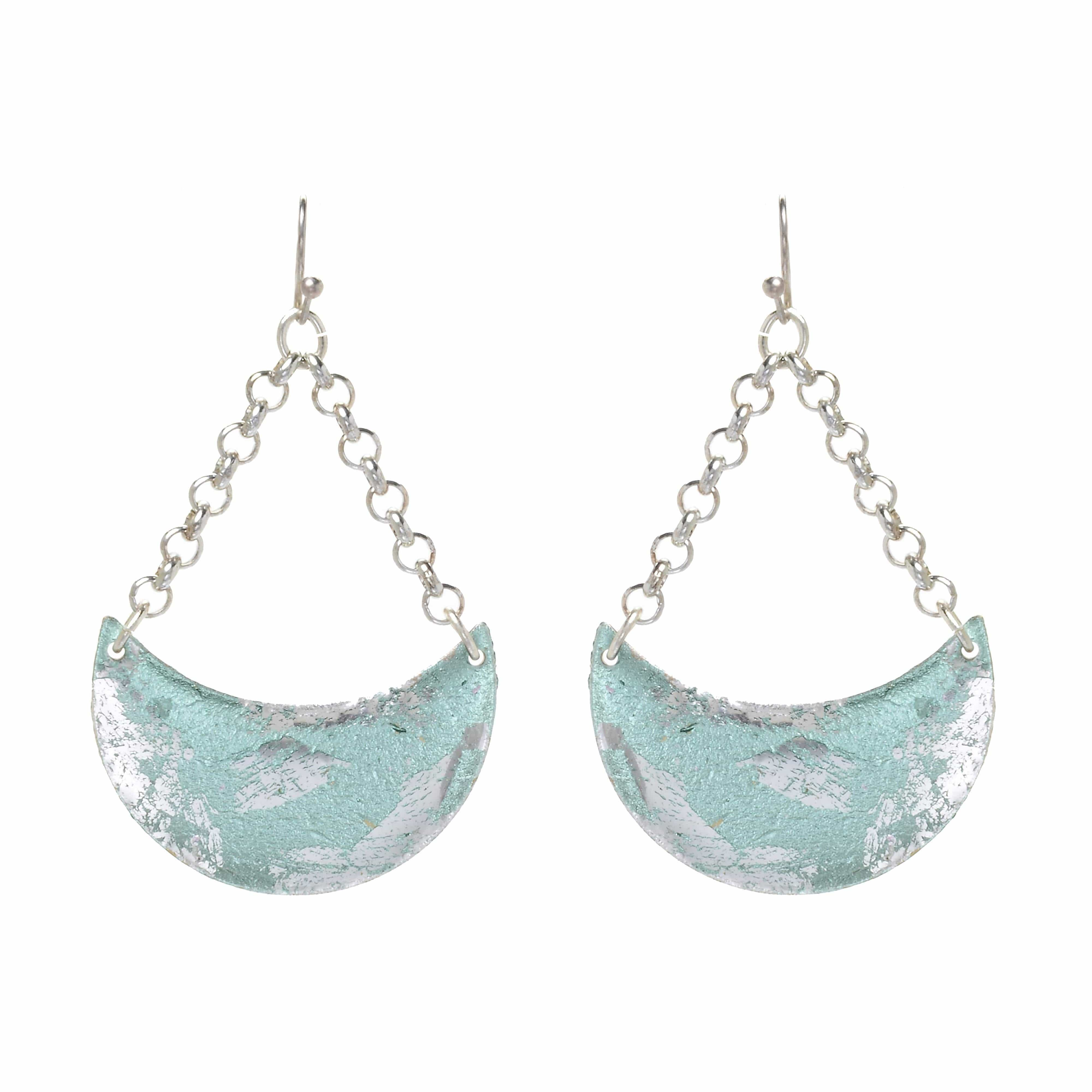 Turquoise Crescent Silver Earrings - EL402-Evocateur-Renee Taylor Gallery