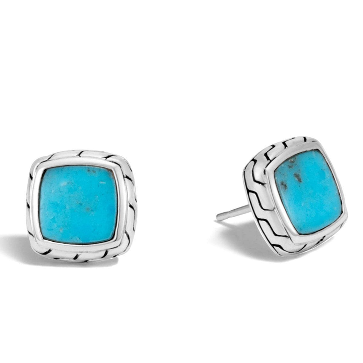 Chain Turquoise Stud Earrings - EBS9995961TQ-John Hardy-Renee Taylor Gallery