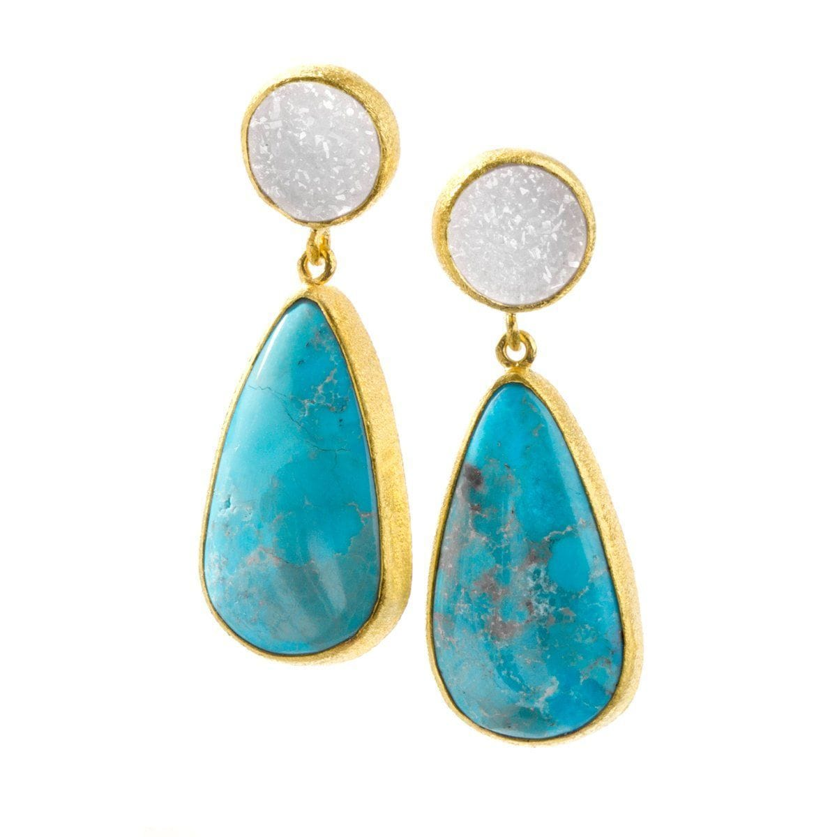 Valerian 22k Gold Plated & Turquoise Earrings - G4005E-TRQ-Nina Nguyen-Renee Taylor Gallery