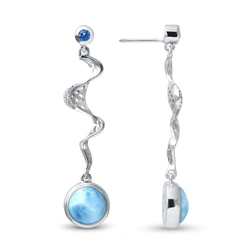 Versailles Blue Spinel & White Sapphire Earrings - Evers00-00-Marahlago Larimar-Renee Taylor Gallery