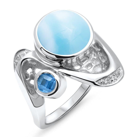 Versailles Blue Spinel & White Sapphire Ring - Rvers00-00-Marahlago Larimar-Renee Taylor Gallery