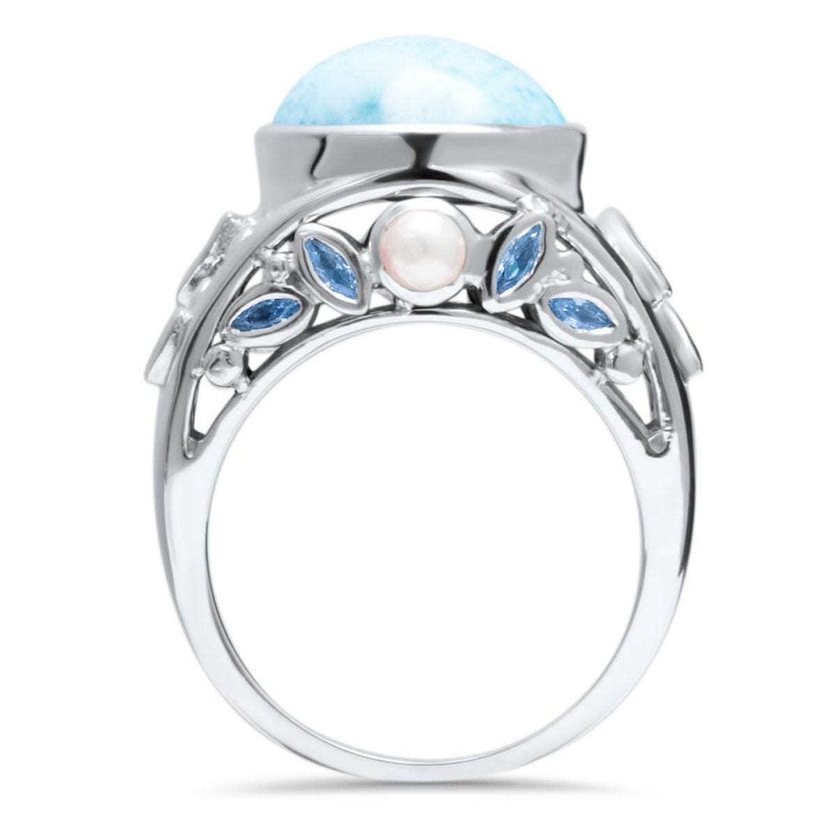 Victoria Blue Spinel & Pearl Ring - Rvict00-00-Marahlago Larimar-Renee Taylor Gallery