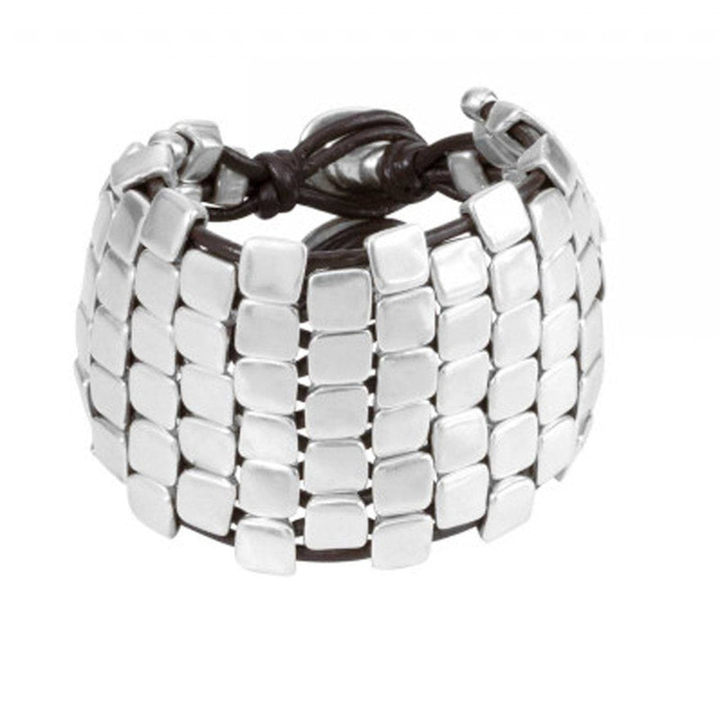 Wall Up Leather & Silver Plated Bracelet - PUL1391MTLMAR0M-UNO de 50-Renee Taylor Gallery