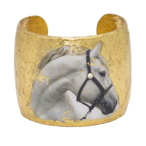 "White Horse 2"" Gold Cuff - EQ102-Evocateur-Renee Taylor Gallery"