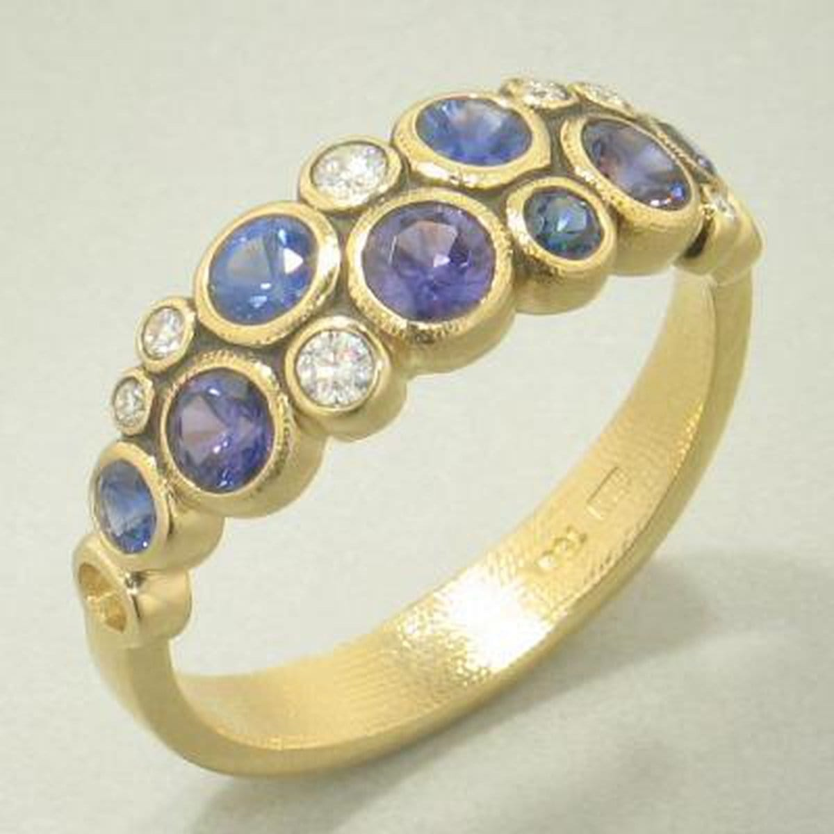 18K Vivid Violet Mix Sapphire & Diamond Ring - R-113S-Alex Sepkus-Renee Taylor Gallery