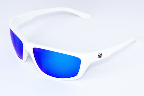 The Islamorada- Floating Sunglasses White Frame/ Blue Mirror Lens