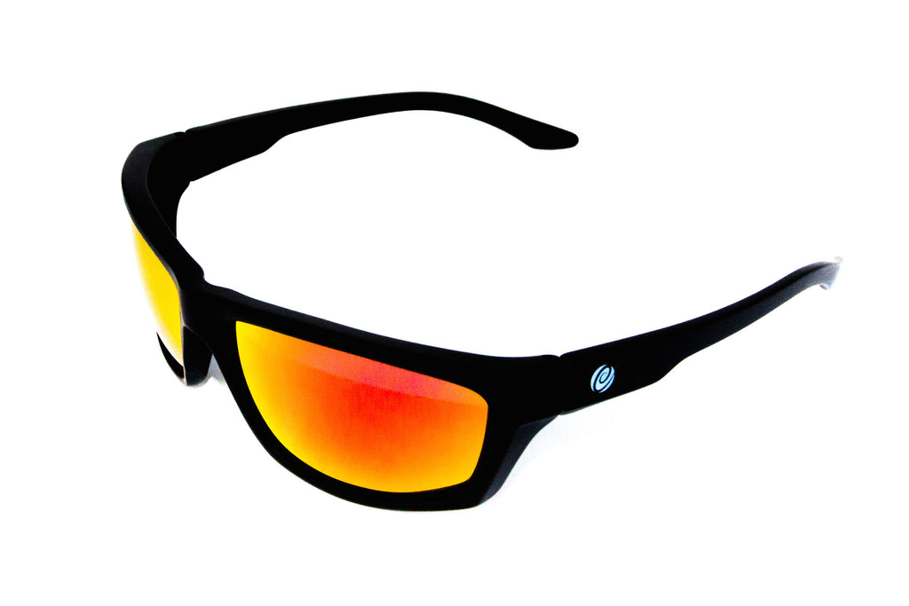 The Islamorada- Floating Sunglasses Black Frame/Red Mirror Lens