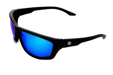 The Islamorada-  Floating Sunglasses Black Frame/ Blue Mirror Lens