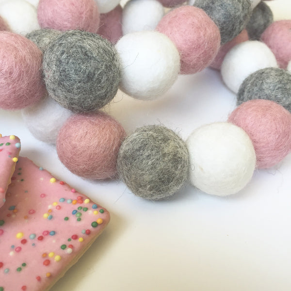 Bunchie Felt Ball Garland - Marble Blush Accessories Winston + Grace