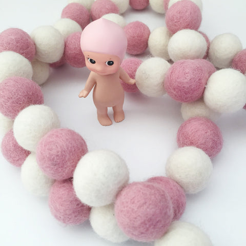 Bunchie Felt Ball Garland - Candy Striper - Winston + Grace