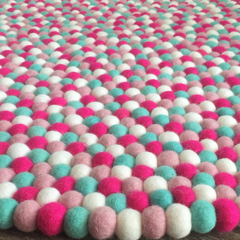 Felt Ball Rug - Raspberry Fields  Winston + Grace