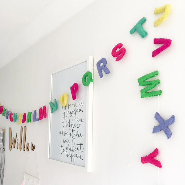 Felt Alphabet Garland - Nerds of Neon Accessories Winston + Grace