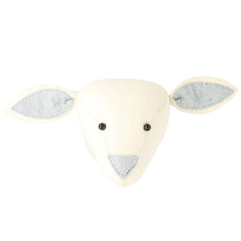 Fiona Walker Felt Animal Head - The Lamb (Silver Blue nose)