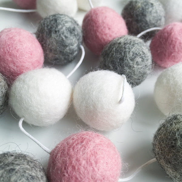 Felt Ball Garland - Marble Blush Accessories Winston + Grace