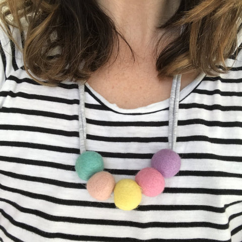 Felt Ball Necklace - The Poppy Pastel  Winston + Grace
