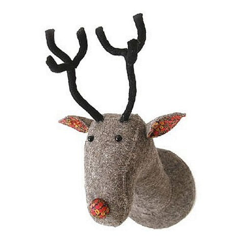 Fiona Walker Felt Animal Head - The Grey Liberty Reindeer  Winston + Grace