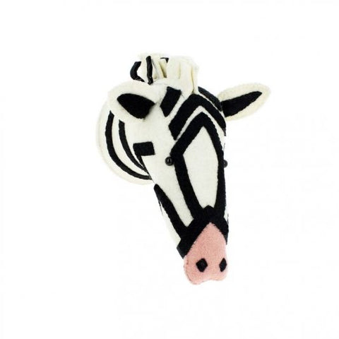 Fiona Walker Felt  Semi Animal Head - The Striped Zebra - Pink Nose