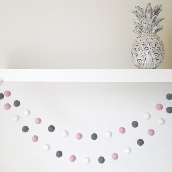 Felt Ball Garland - Marshmallow Storm Accessories Winston + Grace