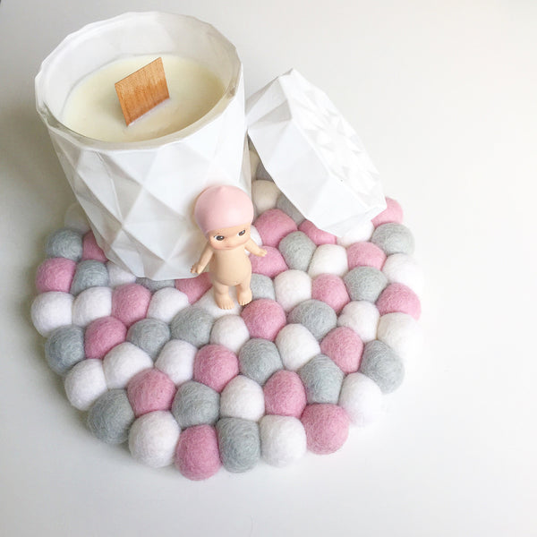 Felt Ball Mini Mat - Hello Marshmallow  Winston + Grace