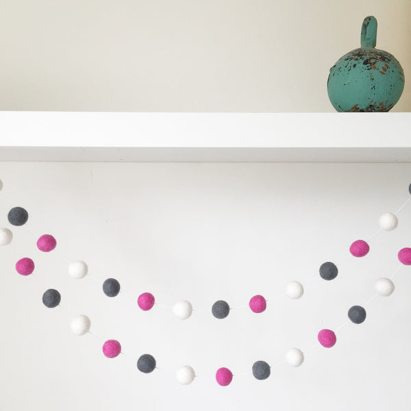 Felt Ball Garland - Raspberry Tea Accessories Winston + Grace