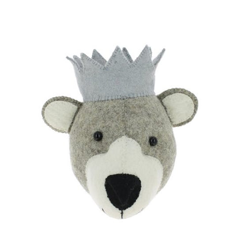 Fiona Walker Felt Animal Head - The Baby Bear with Crown (Mini)  Winston + Grace