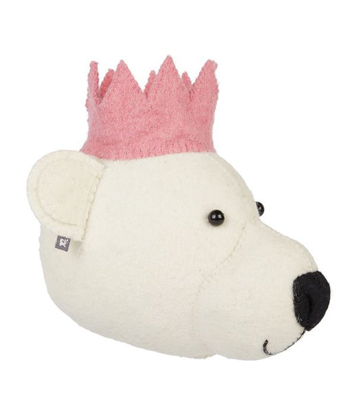 Fiona Walker Felt Animal Head - The Baby Bear with Crown - Pink (Mini)