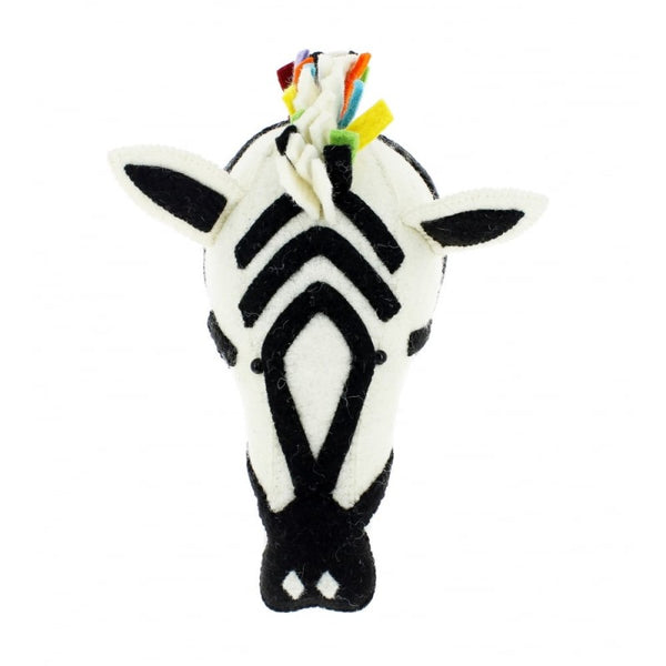Fiona Walker Felt Animal Head - The Zebra Rainbow Safari (Medium)  Winston + Grace
