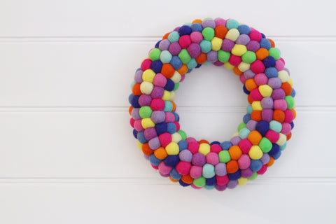 Felt Ball Wreath - Blended Family  Winston + Grace
