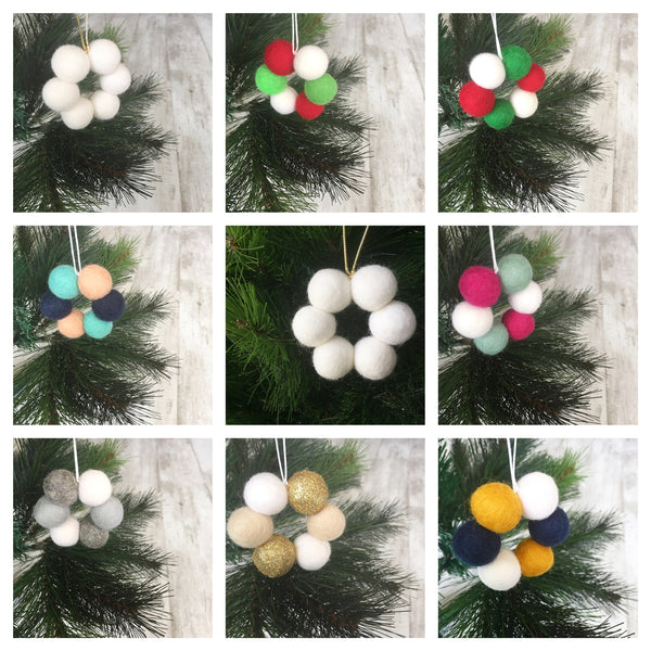 Mini Felt Ball Wreath - Custom Design Accessories Winston + Grace