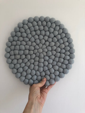 Felt Ball Mini Mat (trivet) - Dark Grey