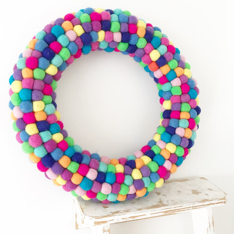 Felt Ball Wreath - Blended Family