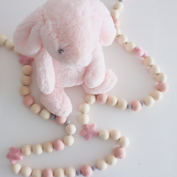 Felt and Wooden Ball Garland - Blushing Bunny Accessories Winston + Grace
