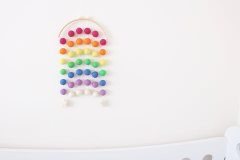Rainbow Moon Felt Ball Mobile - Bright Rainbow
