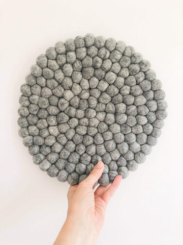 Felt Ball Mini Mat (trivet) - Scandi Grey  Winston + Grace