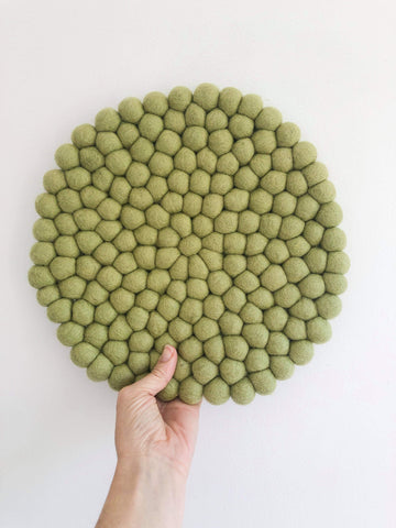 Felt Ball Mini Mat (trivet) - Light Olive  Winston + Grace