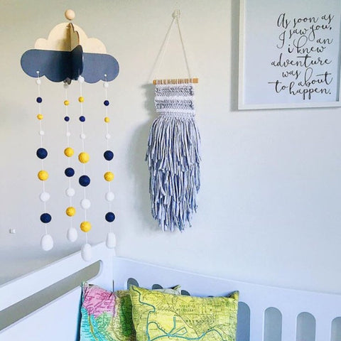 Head in the Clouds Felt Ball Mobile  - Navy + Mustard  Winston + Grace