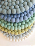 Felt Ball Mini Mat (trivet) - Denim