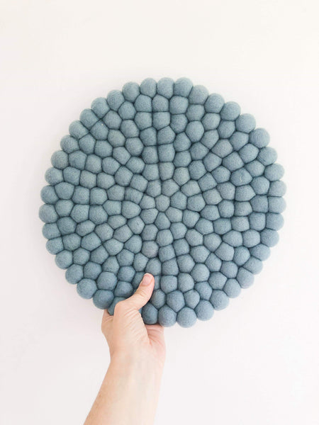 Felt Ball Mini Mat (trivet) - Blue Grey