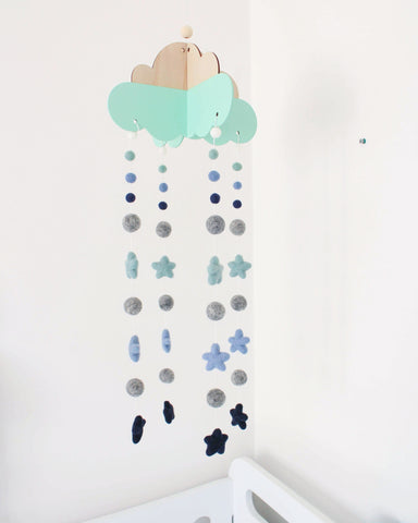 Head in the Clouds with Stars Felt Ball Mobile  - Sea Foam  Winston + Grace