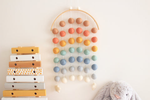 Rainbow Moon Felt Ball Mobile - Earthy Rainbow
