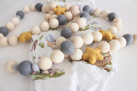 Felt and Wooden Ball Garland - Old English Skies Accessories Winston + Grace
